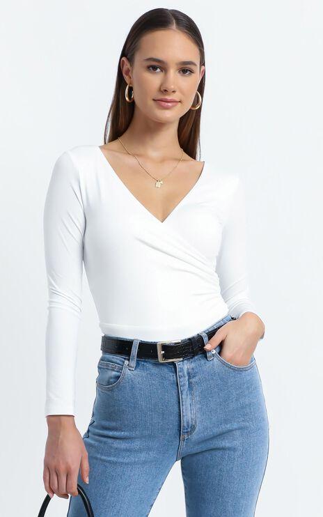 Kristina Longsleeve Bodysuit in White