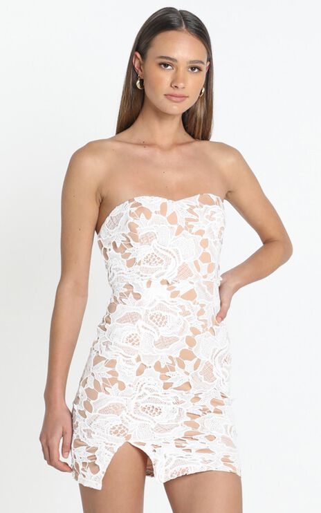 I Wont Let Go Mini Dress in white lace