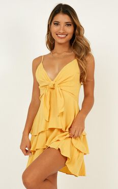 Face The Sun Dress In Mustard