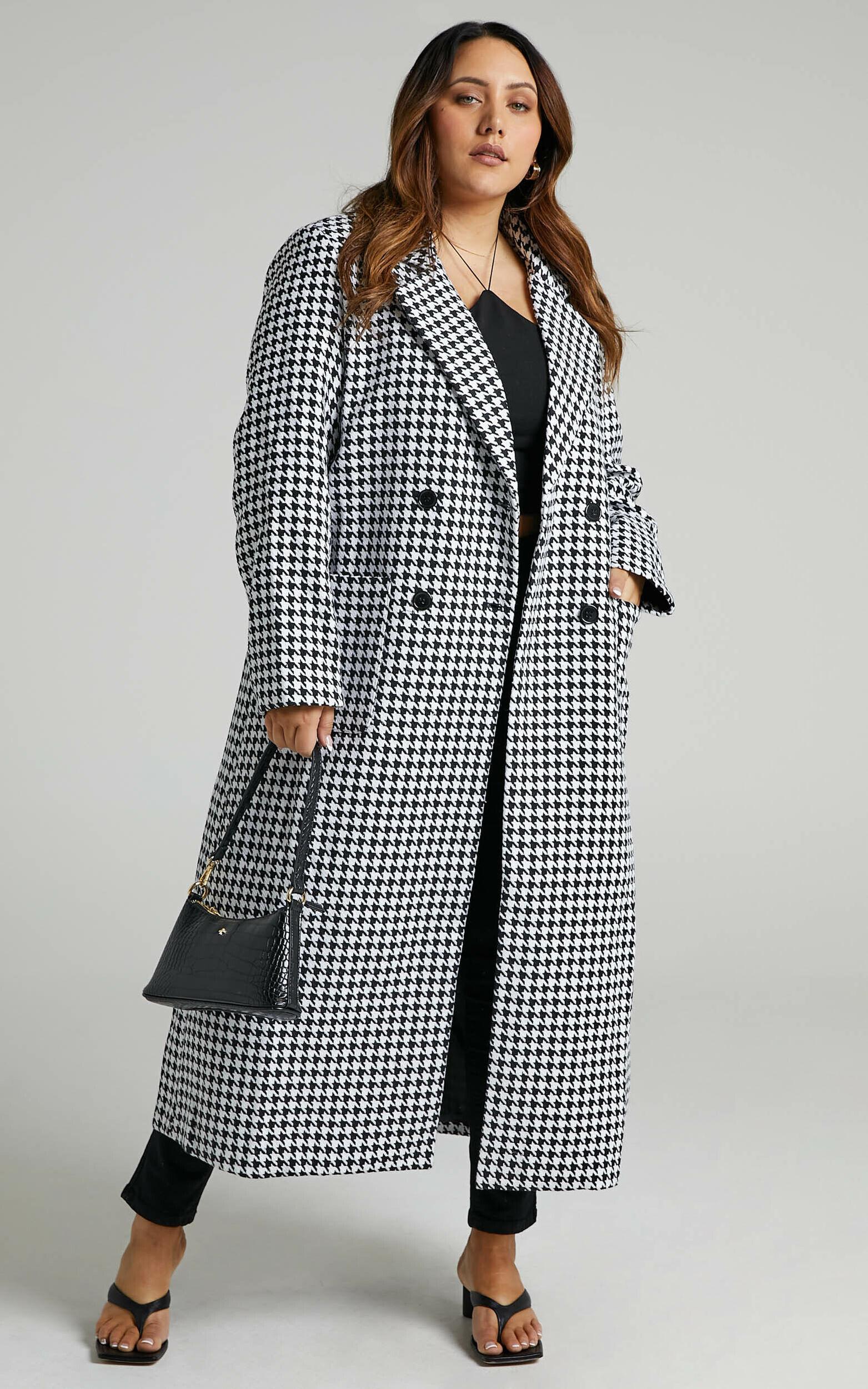 Violete Button Up Coat in Houndstooth Check - 20, BLK1, super-hi-res image number null