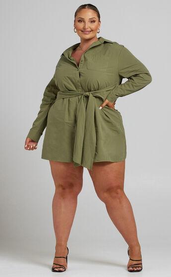 Macie Tie Front Shirt Mini Dress in Khaki