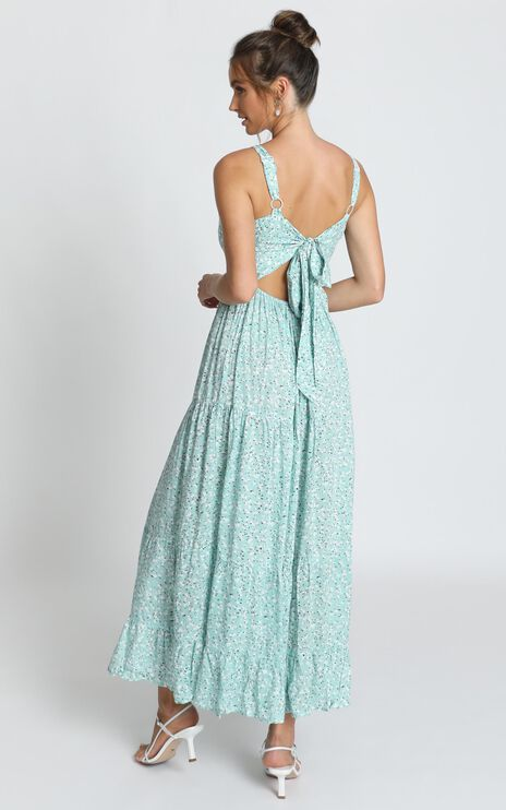 Midnight Cruise Maxi Dress In Sage Floral