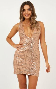 Long List Dress In Rose Gold Sequin