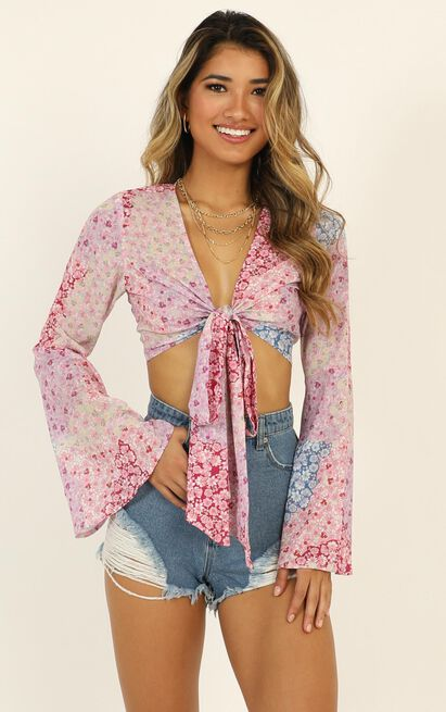 Send It My Way top in pink floral - 20 (XXXXL), Pink, hi-res image number null