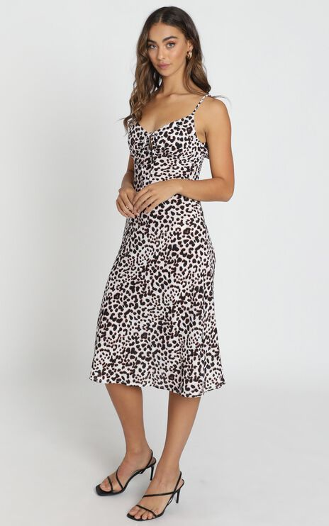 Toss the Dice Dress in white leopard