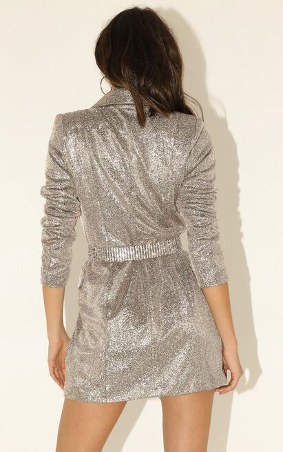 Make It Here blazer dress in silver - 12 (L), Silver, hi-res image number null