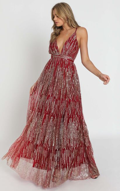 Breaking Rules Dress in red gold glitter - 8 (S), Red, hi-res image number null