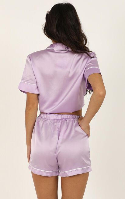 Sleep All Day Shorts in lilac satin - 20 (XXXXL), Purple, hi-res image number null