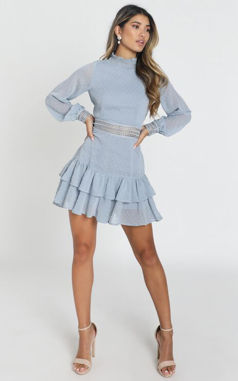 Are You Gonna Kiss Me Dress in Dusty Blue