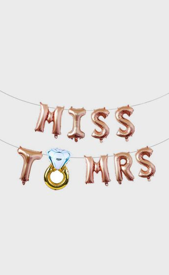 Miss To Mrs Balloon Banner in Rose Gold