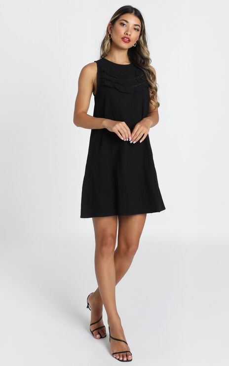 Karla Ruffle Detail Smock Dress In Black
