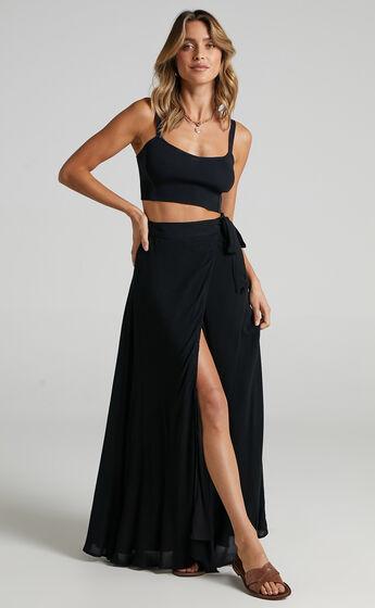 Break A Leg Wrap Thigh Split Maxi Skirt in Black