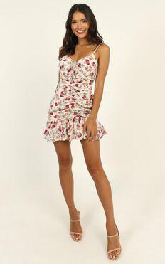 Veronika Dress In Cream Floral