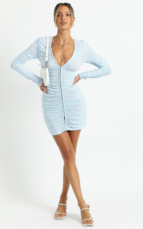 Lioness - Garter Mini Dress in Sky Blue