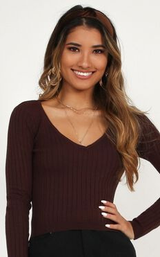 Lovely Love Knit Top In Chocolate