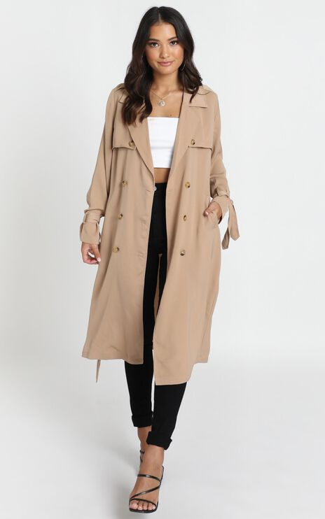 Stepping It Up Trench Coat In Beige