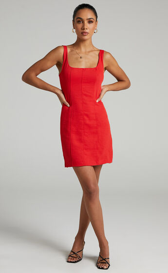 Charley Bustier Mini Dress with Panelling in Oxy Red