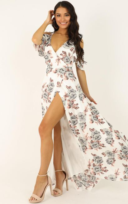 Something to Tell you Dress in white floral - 12 (L), White, hi-res image number null