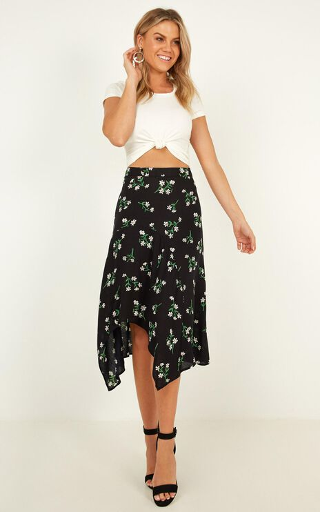 Someone You Loved Skirt In Black Floral