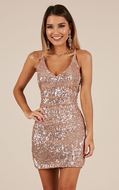 Time To Win Dress In Gold Sequin
