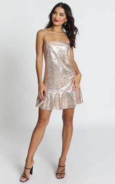 See The Way Slip Dress In Gold Sequin