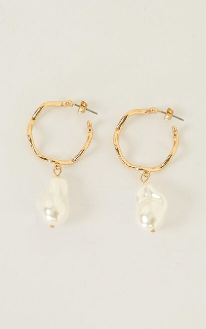 Hung Up On You Earrings In Gold And Pearl, , hi-res image number null