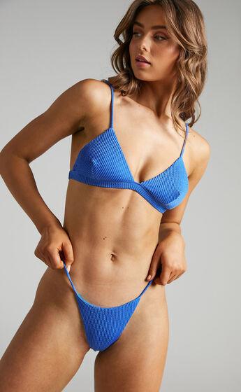 Teuila Textured Thin Strap Bikini Bottom in Blue
