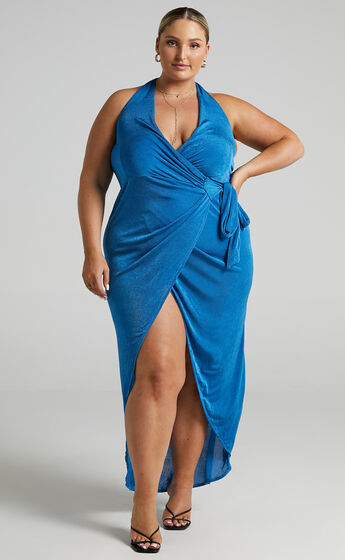 Tracee Halterneck Wrap Dress in Blue