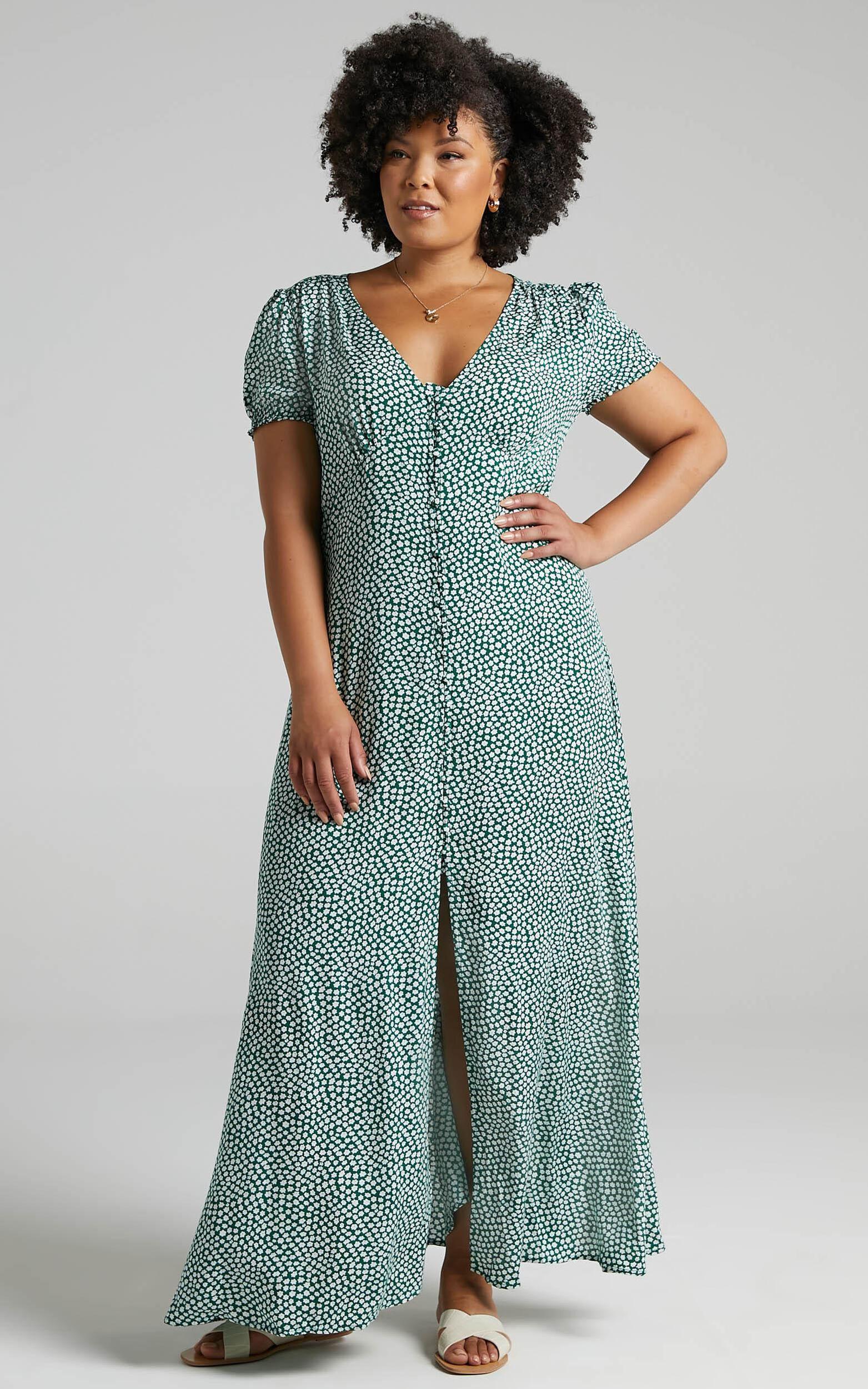 Flaming Hot Button Up V Neck Maxi Dress in Green Floral - 20, GRN2, super-hi-res image number null