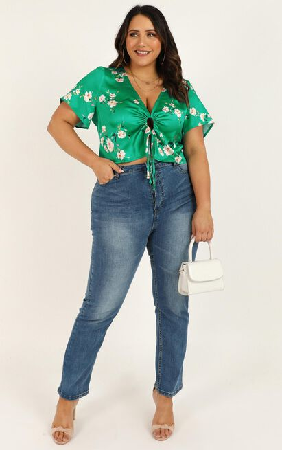 Full Of Dreams Top in green floral satin - 12 (L), Green, hi-res image number null