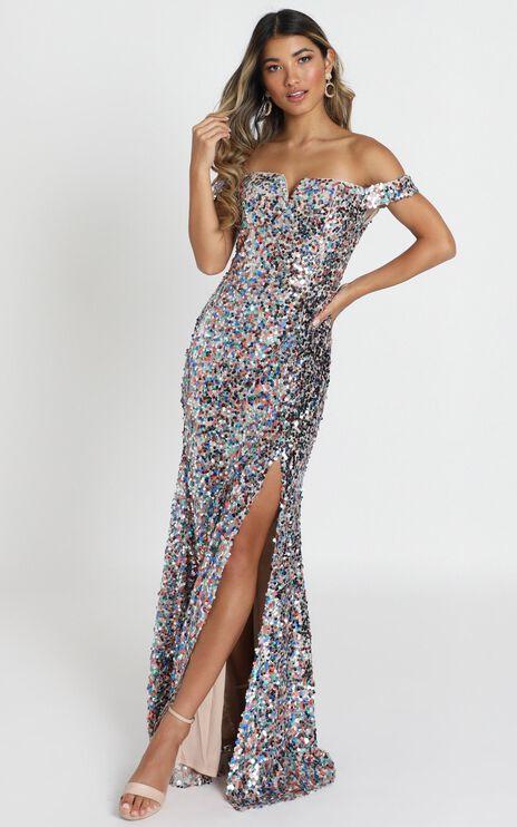 Luna Maxi Dress In Nude Multi