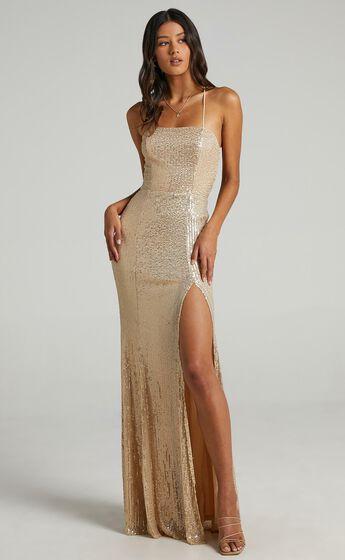 Magic Hour Split Maxi Dress in Gold Sequin