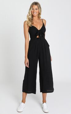 Renewed Jumpsuit In Black Linen Look
