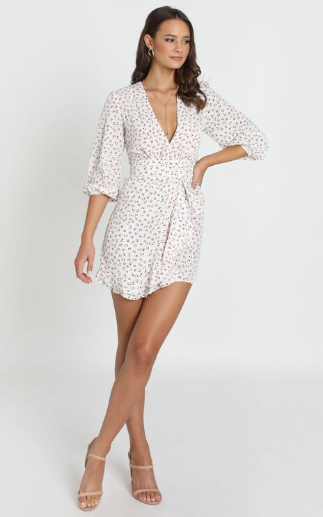 Shelby Dress With Waist Tie In White Floral