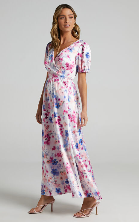 Kori Midi Dress in Blur Floral
