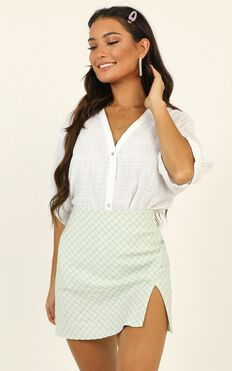 I Have A Crush Skirt In Sage Check