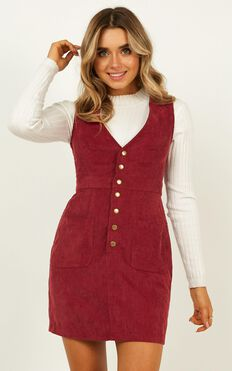 Leaving You Behind Dress In Wine corduroy