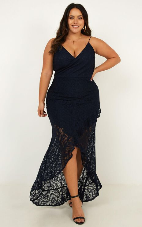 Passionate From Afar Dress In Navy Lace