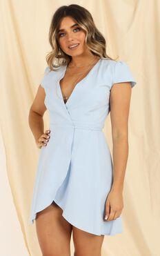 To Market Dress In Pale Blue Linen Look