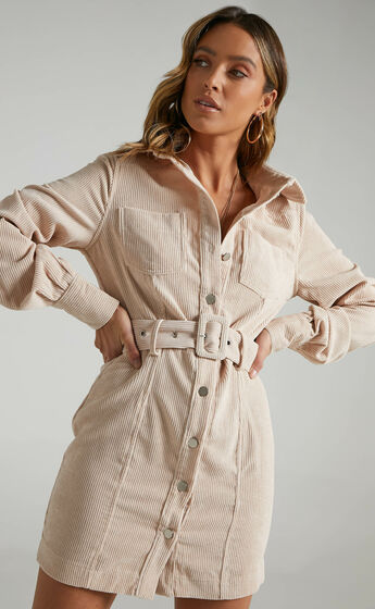 Lida Mini Long Sleeve Belted Corduroy Dress in Cream