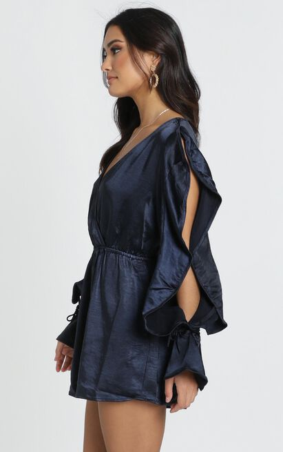 Karly Playsuit in navy satin - 12 (L), Navy, hi-res image number null