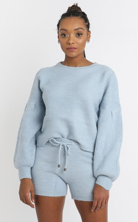 Siobhan Knit Shorts in Sky Blue