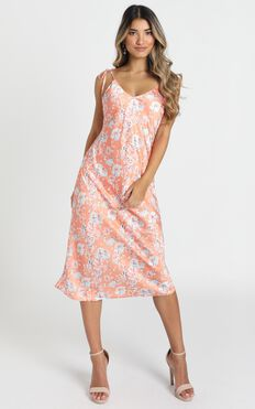 Slowing It Down Dress In Orange Floral