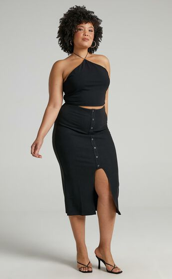 Into Motion Skirt in Black Rib
