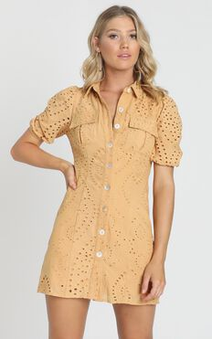 Talia Dress in Mustard Embroidery