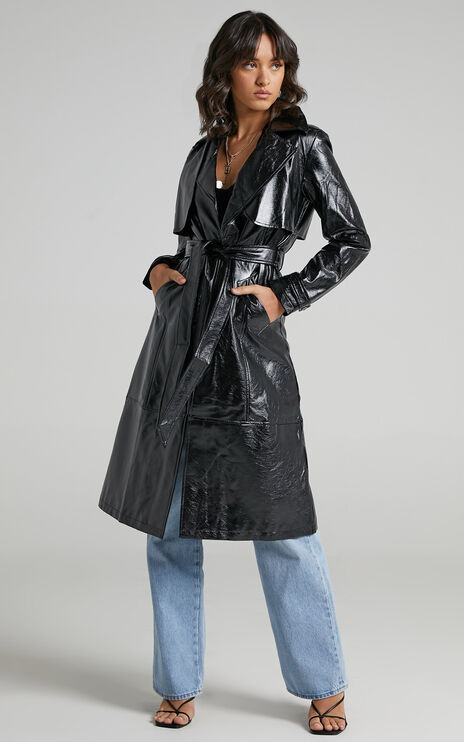 Unsolved Mystery Trench Coat in Black
