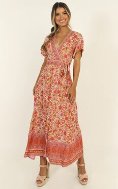 Elouise Maxi Dress In Red Print