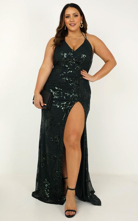 Out Till Dawn Maxi Dress In Emerald Sequin