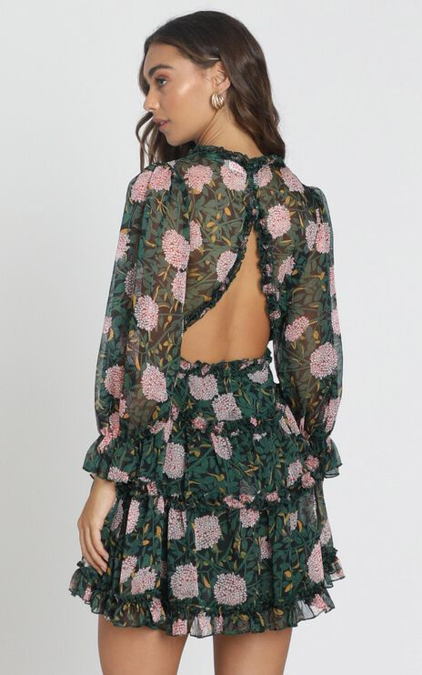 Ederly Dress in green floral