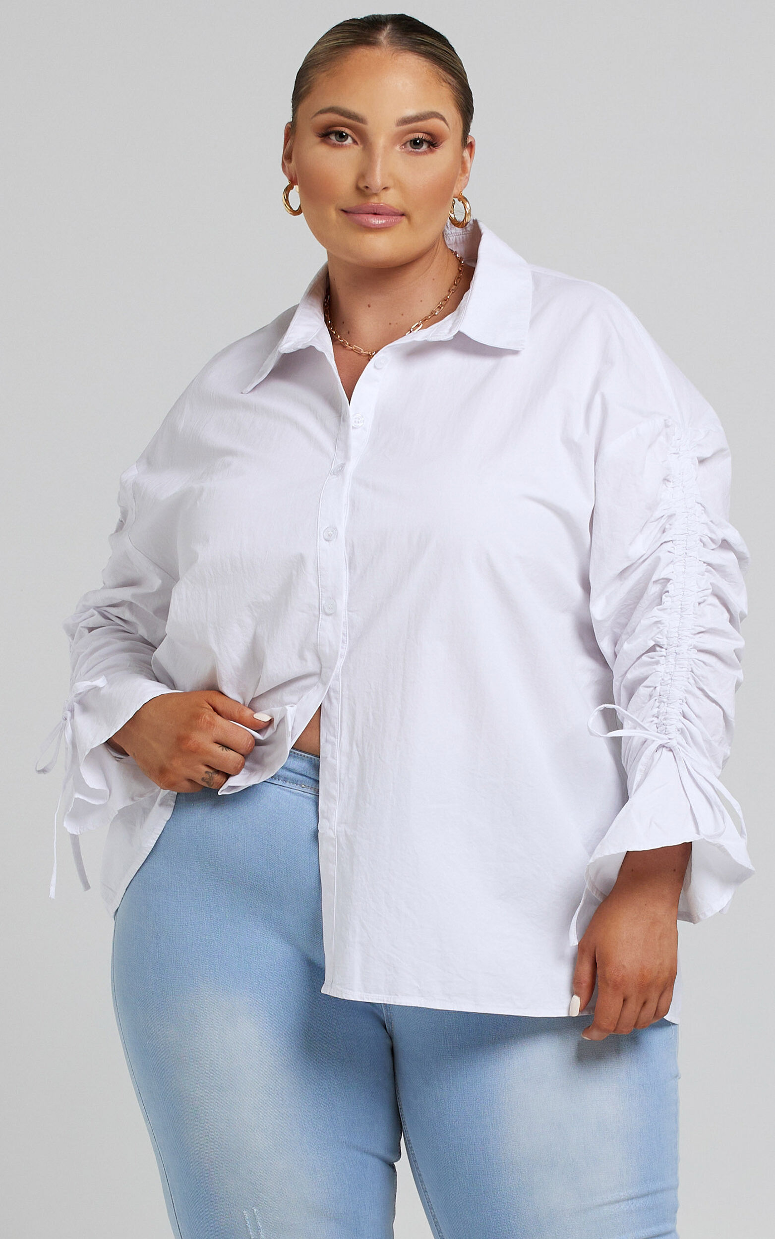 Melli Longsleeve Ruched Shirt in White - 04, WHT2, super-hi-res image number null